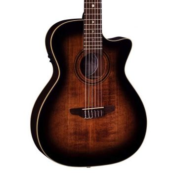 Luna Guitars Art Vintage Nylon Solid Top A/E Distressed Vintage Brownburst. Guitarra Electroacústica