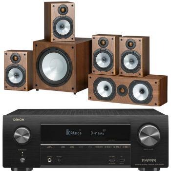 DENON Equipo AV AVR-X1500H + MONITOR AUDIO 4 MR1 + MR Centre + MRW10 POWER Walnut. Altavoces Home Cinema