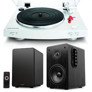 Equipo HiFi Audio Technica AT-LP3WH. Giradiscos HiFi Previo Phono + Altavoces Bluetooth Estantería Beta 1BT Audibax