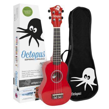 Octopus UK 200 RD Ukelele Soprano Rojo con Funda