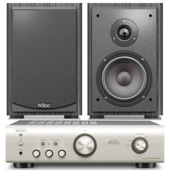 Equipo HiFi Amplificador DENON PMA-520 Silver + Altavoces estantería Wiibo Karino 400
