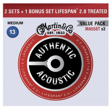 Martin MA550TPK3 Cuerdas Guitarra Acústica Pack 3 Unidades Authentic Lifespan 2.0 Phosphor Bronze 92/8 M