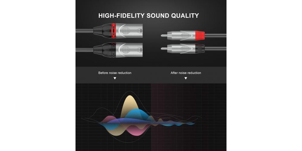 cable audibax 2xlr macho 2 rca 3m negro mh