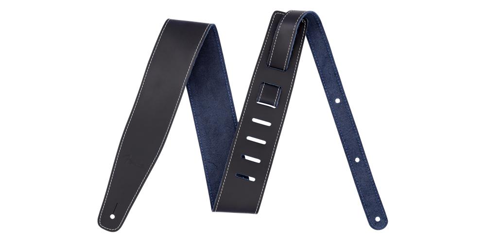 fender broken in leather strap blue 2 5
