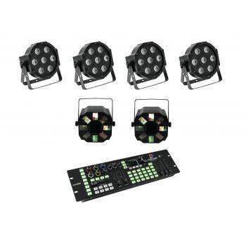 Eurolite Set 4 x LED SLS-7 HCL Floor Foco + 2 x LED FE-700 + DMX LED Color Chief Controlador DMX