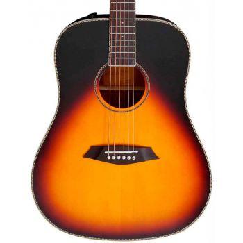 Larry Carlton A3-D Guitarra Acústica Dreadnought Vintage Sunburst